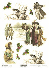 Rice Paper for Decoupage Scrapbooking, Christmas Vintage Winter Lady A4 ITD R458
