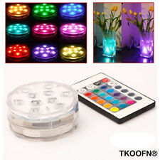 SET OF 4 SUBMERSIBLE GLOW BATTERY VASE BASE LED LIGHTS UP WITH 2 REMOTE CONTROLS