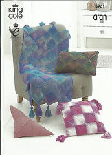 EASY KING COLE MODERN PATCHWORK CUSHION & TASSLED BLANKET ARAN KNITTING PATTERN,