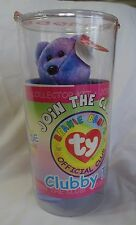 TY BEANIES OFFICIAL CLUB CLUBBY IV BEAR  in Original Round Plastic Container NEW