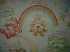 VINTAGE 1980's CARE BEARS AMERICAN GREETINGS RAINBOW TWIN FLAT SHEET BED FABRIC