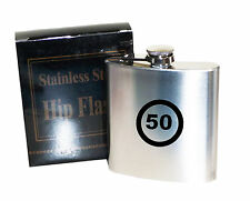 50th  Birthday speed limit   6 oz Stainless Steel Hip Flask - Laser Engraved
