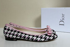 sz 8.5 / 39 New Christian Dior Black & White Pink Canvas Bow Ballet Flat Shoes