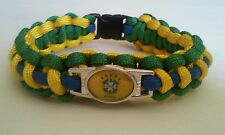 "BRAZIL SOCCER TEAM PARACORD BRACELET GREEN YELLOW BLUE CORD 8.5"" COPA AMERICA"