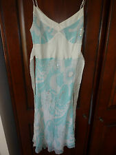 NWOT Oasis blue and white cocktail, summer dress, sleeveless, silk. Size 14