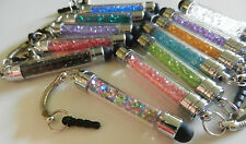 LOT 10 x Cute Bead Crystal Stylus Pen Universal iPhone iPad Galaxy Key Chain Cap
