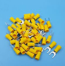 50Pcs Yellow SV5.5-6 12~10AWG Furcate Pre-Insulating Fork Spade Crimp Terminals