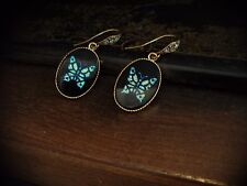 Vintage Black with Blue Butterfly Oval Drop Pierced Hook Earrings