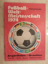 1974 World Cup Programme: ARGENTINA v BRAZIL- 30th June 1974
