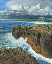 STUNNING ORIGINAL RICHARD HARPUM M.A (Camb) Atlantic Breakers, Portugal PAINTING