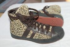 DKNY DONNA KAREN SIZE 7.5 FASHION HIGH TOP CORDUROY LEATHER SNEAKERS SHOES