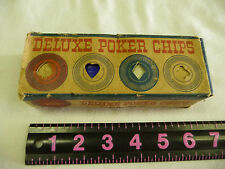 VINTAGE BOX OF 100 DELUXE POKER CHIPS