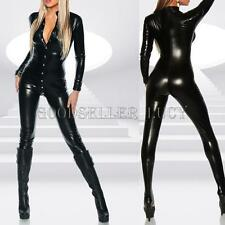 Womens Sexy PVC Leather Wet Look Bodysuit Catsuit Costume Halloween Fancy Dress