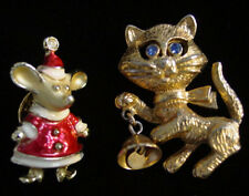 Vintage Signed CHRISTMAS MOUSE & CAT with BELL Figural PINS~Merry Cat-Mouse!