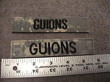 US Military ABU Camo Chest Name Tag for GUIONS, Lot of 2 tabs with Velcro Back