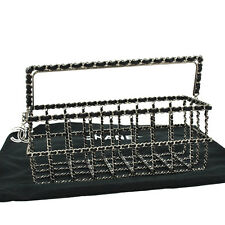 RARE!! Auth CHANEL CC Chain Hand Bag Case Silver Black Leather Metal VTG AK02303