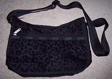 LeSportsac Black Shoulder bag Crossbody Sparkle Leopard Print.Great for travel