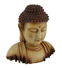 Meditating Buddha Head Decorative Faux Carved Wood Look Statue