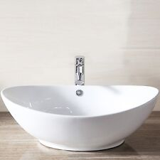 Porcelain Ceramic Sink White Vessel Vanity Basin Bowl w/Pop Up Drain Bathroom