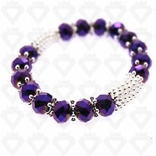 STUNNING CRYSTAL DIAMANTE GLASS BEADED BANGLE STRETCH FRIENDSHIP BRACELET COLOUR