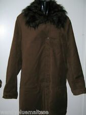 Maggie T 22 Brown 3/4 Length Coat Detachable Faux Fur Collar 2 Front Pockets