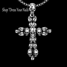 Skull Cross Pendent Necklace Large Long Gothic Punk Styled Silver Plated