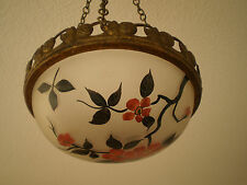 SUSPENSION VERRERIE ART DECO LAMPE LUMINAIRE 1930 FRUITS VINTAGE COPPER GLASS