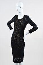 Giada Forte My Dress NWT $630 Black Tan Knit Lace LS Midi Bodycon Dress SZ 0