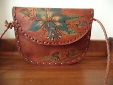 Vintage signed brown leather hand painted shoulder bag from Brazil