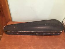 Antique Wooden GSB Coffin Style Violin Case with Papered Interior