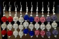 SHAMBALLA ONE PAIR OF DROP EARRINGS WITH 3 CLAY CZECH CRYSTAL DISCO BEAD-UK SELL