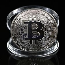 1pc Silver Plated Bitcoin Coin Collectible BTC Coin Art Collection Gift Physical
