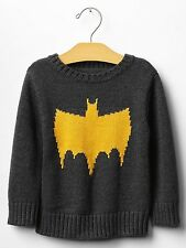 "GAP Baby / Toddler Boy Size 2T 2 Years NWT Gra ""Batman"" Intarsia Sweater Top"