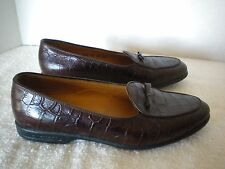 a. testoni Dark Brown Croc Leather Dina Mico Italy Slip On Loafers Shoes 37 6.5