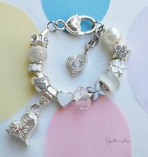 Gorgeous Children's/Girl Charm Initial Silver Plated Bracelet. Wedding Jewellery