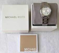 NWT MICHAEL KORS Colette Silver Stainless Steel Day/Date 34mm Watch MK6067 $225