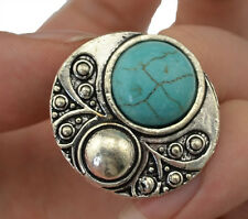 New Fashion Alloy Vintage Silver Boho silver plated big turquoise gem stone ring