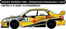 DECALS 1/43 SUBARU IMPREZA WRC - #5 - GASS - RALLYEMONAGHAN STAGES 2013 - D43207