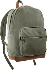 OD Cotton Canvas Teardrop Double Strap Shoulder Backpack Book bag Daypack 9666