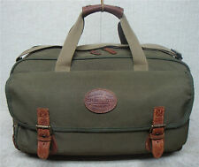 """G.H. BASS & CO.- 19"""" Vintage Duffle Bag Carry On Travel Bag-Green & Brown Canvas"""