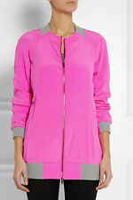 HOT HOT HOT: DKNY Neon Pink Long Cut Stretch Silk Bomber Jacket NWT Sz Petite
