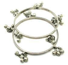 Traditional Indian Silver Bangles Bracelet with Jingle Bells - PAIR Pre-owned