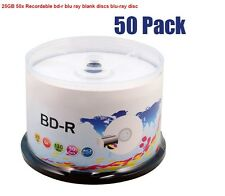 50 Pack Bluray Disc 25GB 130Min BD-R 6x Speed full Printable Blu-Ray Blank Disc