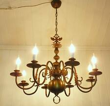 HUGE !! ANTIQUE FRENCH BRASS FLEMISH 8 LAMP CEILING LIGHT CHANDELIER ~ REWIRED ~