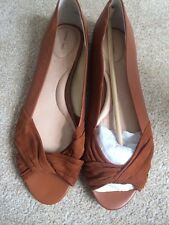 NEW‼️ Lands' End  Brown Reid Open-Toe Twisted Flat Shoes Size 7 Debenhams