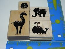 Stampin Up Animal Stories Stamp Set of 4 Whale Elephant Giraffe Owl