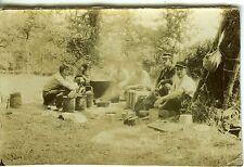 PHOTO CUISINE DE LA 3E JUIN 1919 RAINCHEVAL MILITAIRES EN EXTERIEUR