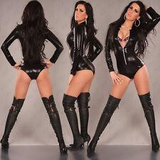 Sexy en cuir synthétique lingerie sous-vêtements combinaison catsuit body taille m (520)