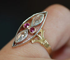 Original French Victorian Rose Cut Diamond & Ruby Open-Work Marquise Ring 18k