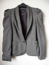 NEW NEXT LADIES GREY TWEED VINTAGE STYLE PUFF SHOULDER JACKET BLAZER  14/42